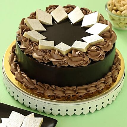 Chocolate Cream Cake With Kaju Katli: Send Holi Gifts
