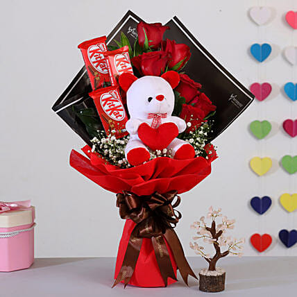 Red Roses Bouquet With Rose Quartz Wish Tree: Valentine Gifts