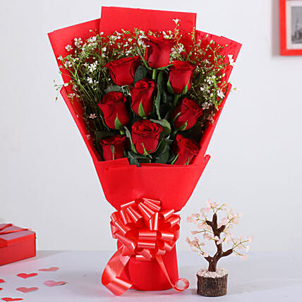 Red Roses Bunch With Rose Quartz Wish Tree: Valentines Day Gifts