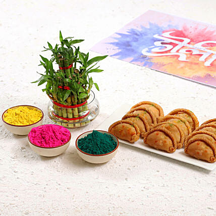 2 Layer Bamboo With Herbal Gulal & Gujiya Combo: Holi Gifts