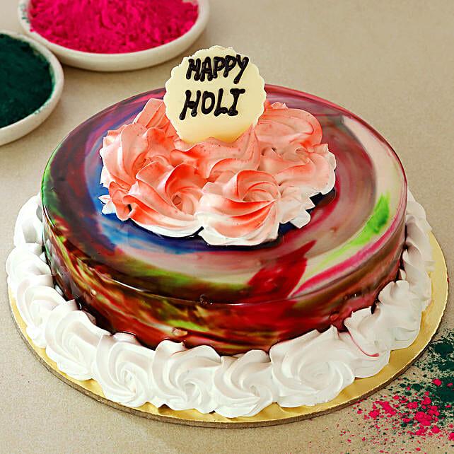 Happy Holi Chocolate Cream Cake: Holi Gifts