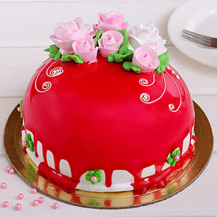Roses On Top Chocolicious Cake: Send Holi Gifts