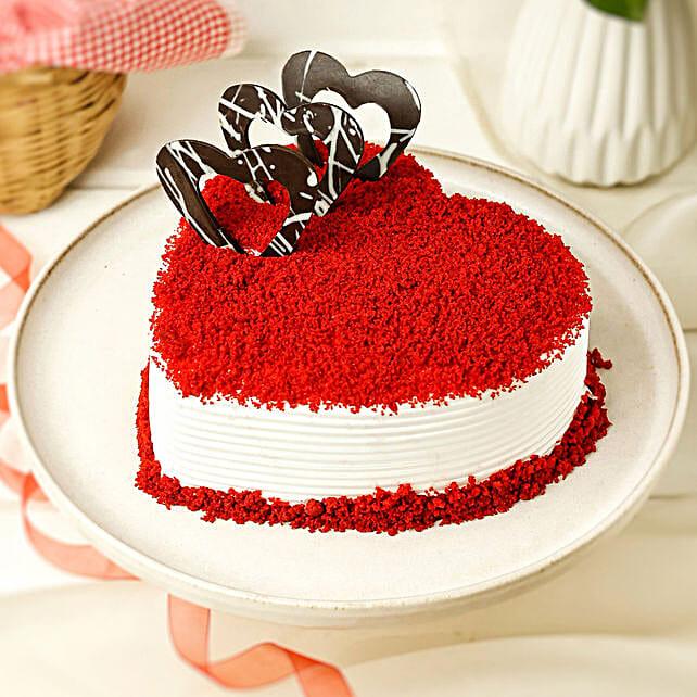 Red Velvet Heart Cake: Gift For Karwa Chauth