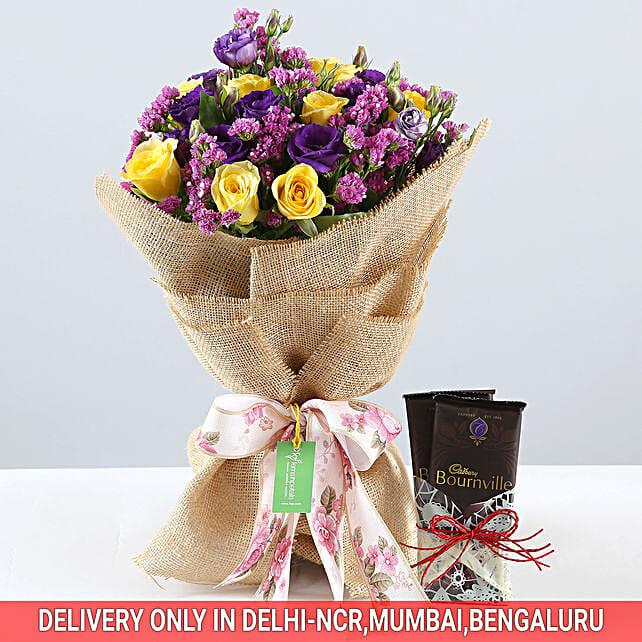 Vibrant Bouquet & Bournville Combo: