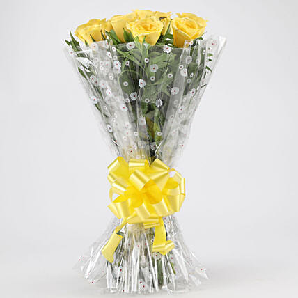 Vibrant Yellow Roses Bouquet: Valentines Day Flowers