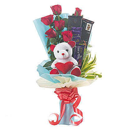 Roses, Teddy Bear & Chocolates Bouquet: Chocolate Combos