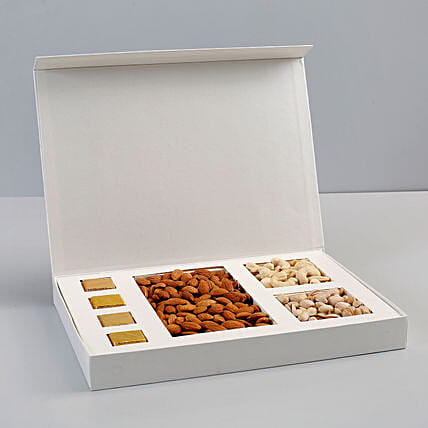 White Box of Dry Fruits & Chocolates: Gift Hampers