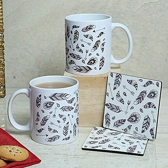 White Duo Mugs N Coasters: Coasters Gifts