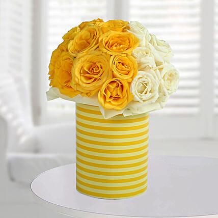White N Bright Floral Arrangement: Gifts for New Born
