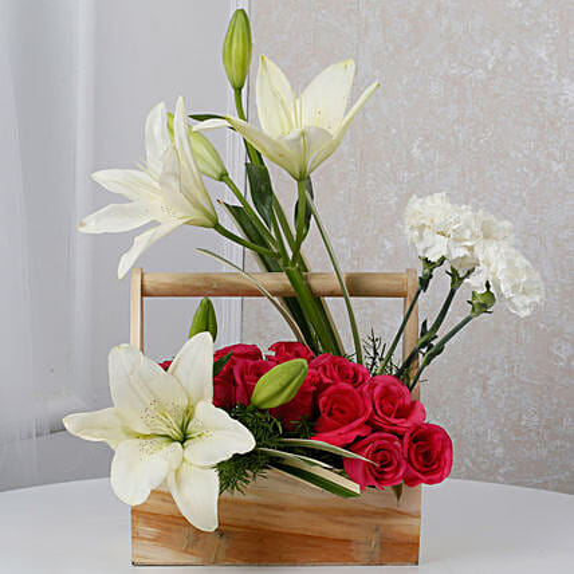 White N Pink Floral Wooden Arrangement: Send Carnations