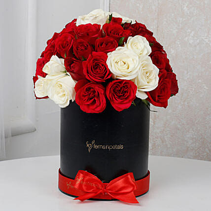 White & Red Roses Box Arrangement: Premium Flowers