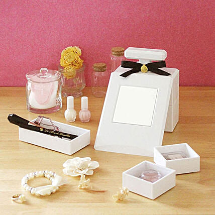 White Perfume Bottle Shaped Cosmetic Organizer: Unusual Gifts