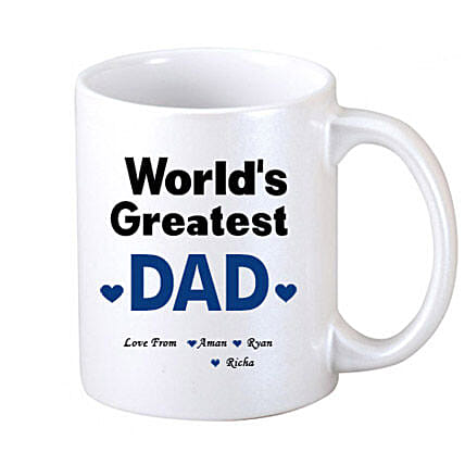 White Personalised Coffee Mug: Personalised Mugs for Fathers Day