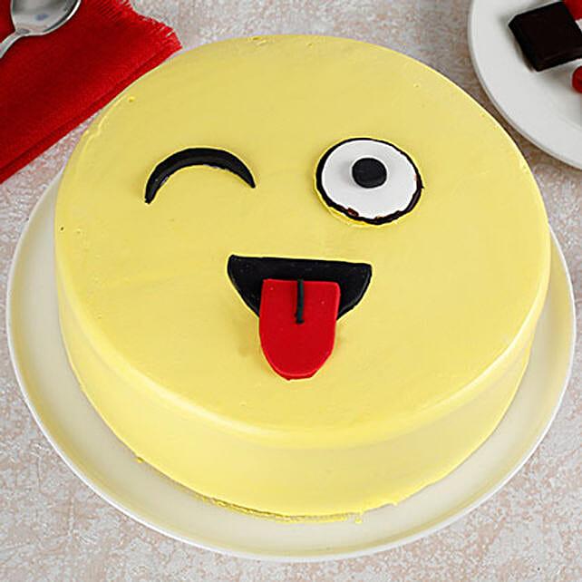 Wink Emoji Semi Fondant Cake: Designer Birthday Cakes