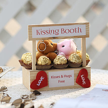 Wooden Kissing Booth & Ferrero Rocher Combo: Chocolate Day Gifts