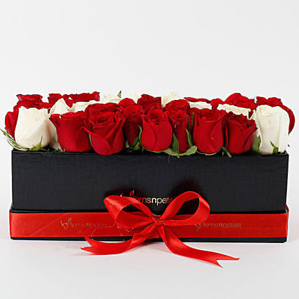 Red & White Roses in Black Box: Flowers In box