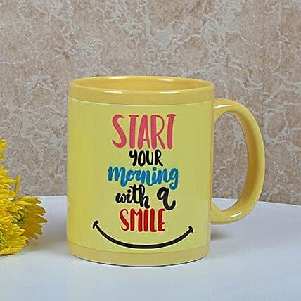 Yellow Ceramic Smiley Mug: Coffee Mugs