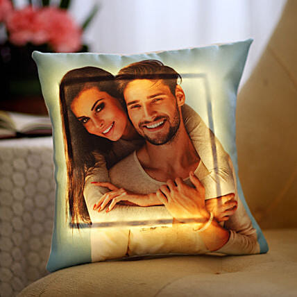 Yellow LED Personalised Love Cushion: Gifts to India