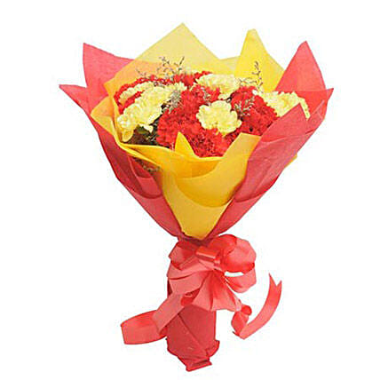 Yellow N Red Carnations: