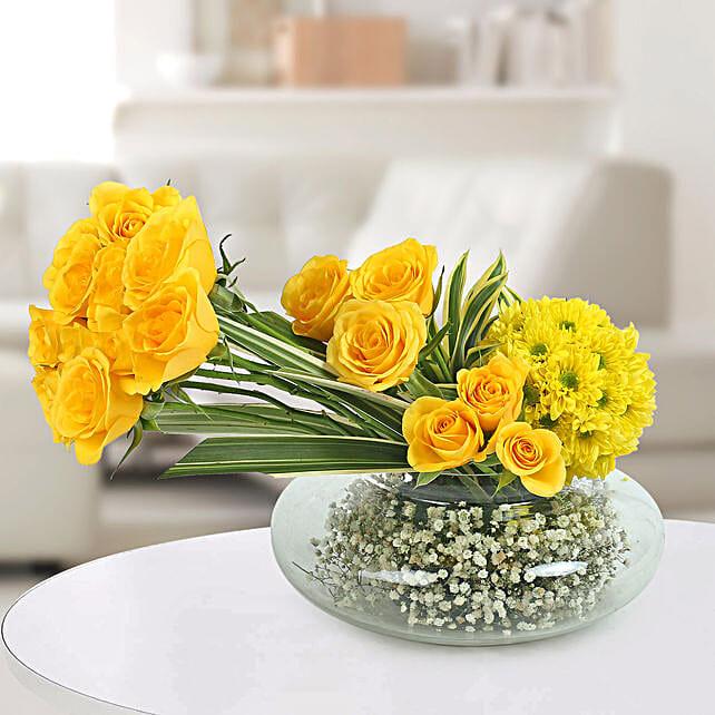 Yellow Roses N Daisies Arrangement: Daughters Day Flowers
