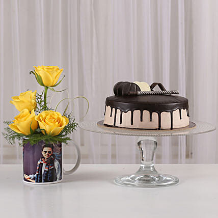 Yellow Roses Picture Mug & Chocolate Cake: Personalised Gift Combos For Father's Day