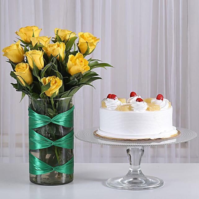Yellow Roses Vase & Pineapple Cake Combo: Flowers N Cakes For Anniversary