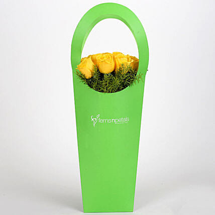 Yellow Roses With Green Sleeve: