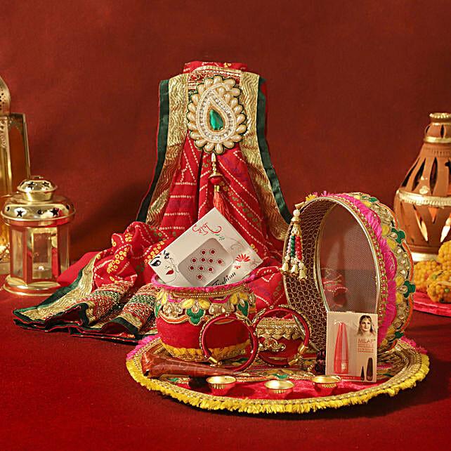 Zardosi Red Thali Set & Shringar: Send Karwa Chauth Sargi