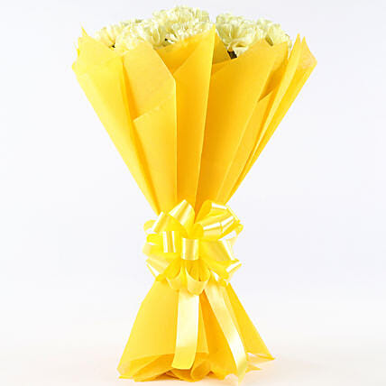 Zesty Yellow Carnations Bouquet: Send Carnations
