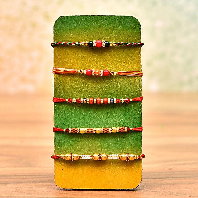 Set of 5 Multicolor Beads Rakhis: Send Rakhi to New Zealand