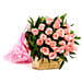 Love Bonanza - Bunch of 25 Pink Roses in a two layer paper packing.