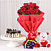 Softy Roses Hamper - Bunch of 12 Red Roses with Soft toy, Chocolates & 500gm Chocolate Cake.
