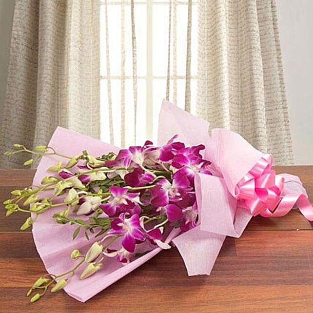 Splendid Purple Orchids: Send Birthday Flowers to Saudi Arabia