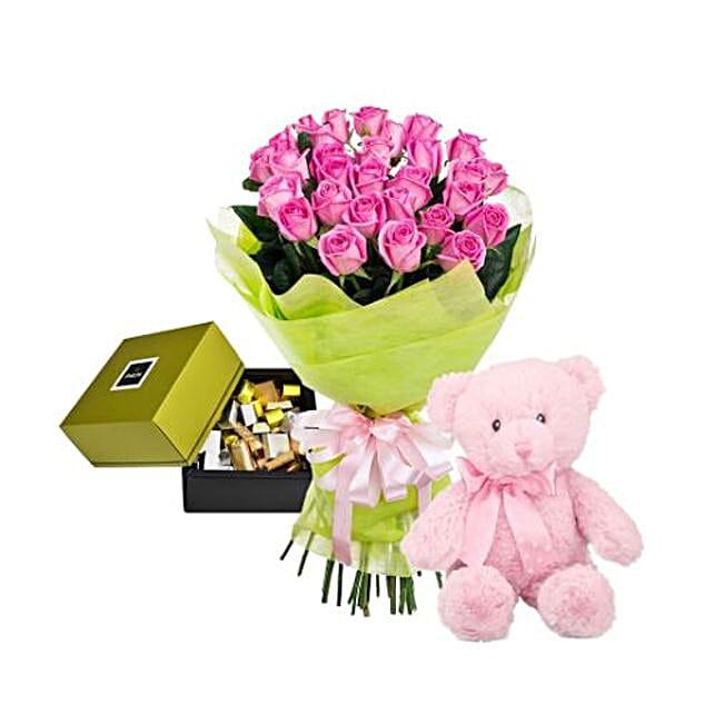 Pink Roses Hamper: Send Thank You Gifts to Saudi Arabia
