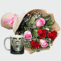 Combo Of Roses Bouquet And Personalised Mug
