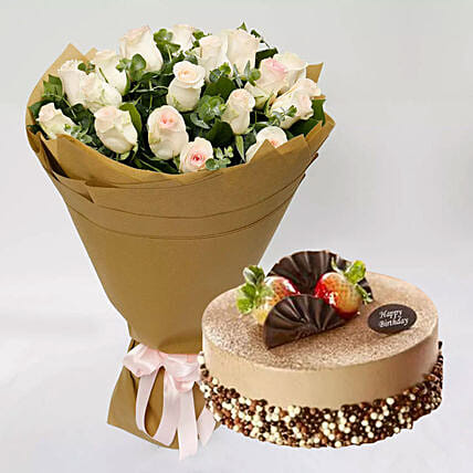 Excellent Mocha Cake And Peach Rose Bouquet In Singapore Gift Mocha Cake Personalised Birthday Cards Veneteletsinfo