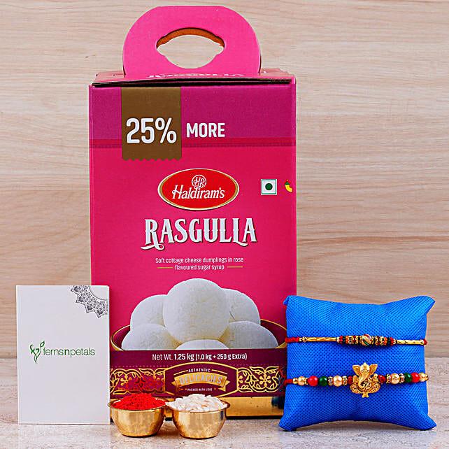 Combo Of 2 Rakhis And Rasgulla Tin: Send Rakhi to Singapore