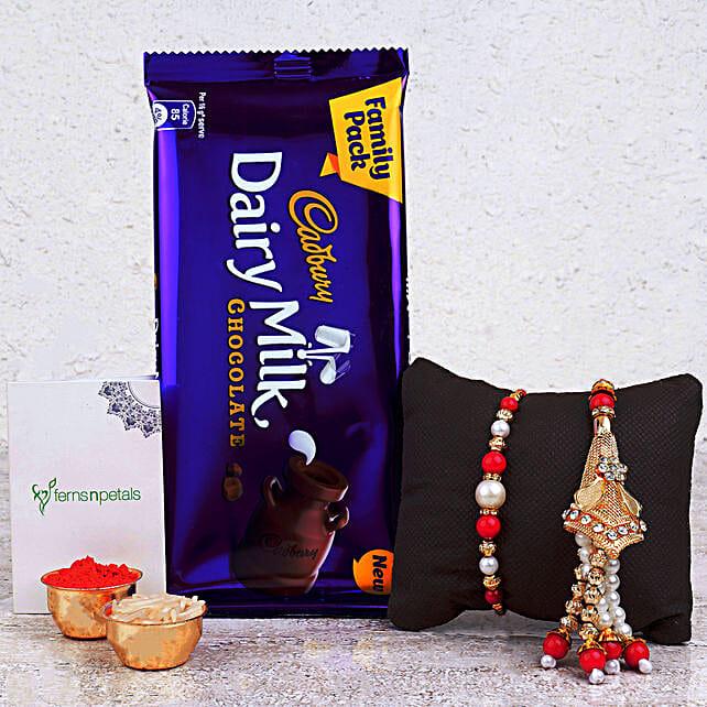 Elegant Pearl Lumba Rakhi Set And Chocolate Combo: Send Rakhi to Singapore