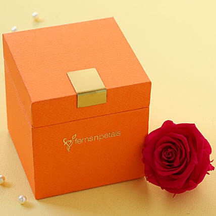 Hot Pink Forever Rose in Orange Box: Send Forever Roses to South Africa
