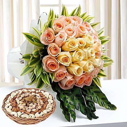 Bunch Of Roses and Dry Fruits Combo: Dry Fruits to Dubai