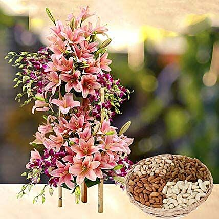 Exotic Flowers Arrangement and Dry Fruits Combo: