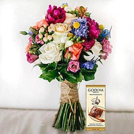 Mixed Flowers Bouquet and Chocolate Combo: Send Chocolate to UAE