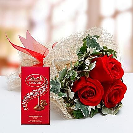 Red Roses Bouquet and Lindt Chocolate Combo: Send Chocolate to UAE
