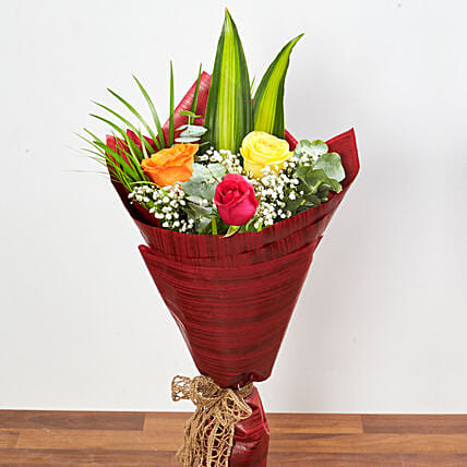 Bouquet Of Multicolored Roses: Send Flowers to UAE