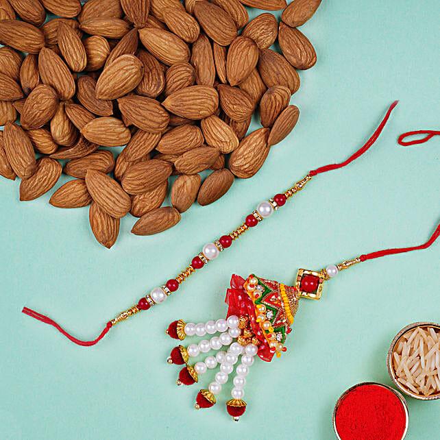 Designer Rakhi Set And Almonds: Send Rakhi to UAE