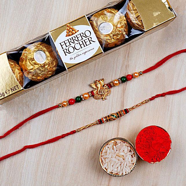 Combo 2 Designer Rakhis And 5 Pcs Ferrero Rochers: Send Rakhi to UAE