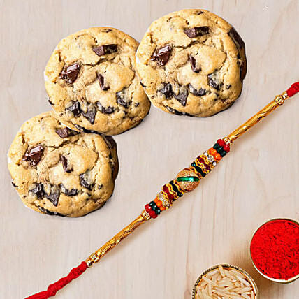 Meena Thread Rakhi and Choco Chip Cookies: Send Rakhi to UAE