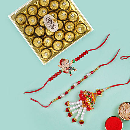 Chocolate with Lumba set and Ganesha Rakhi: Send Rakhi to UAE
