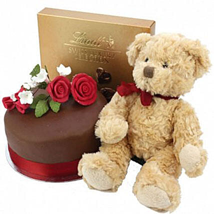 Chocolate Rose Cake With Bear And Lindt Birthday Delivery London