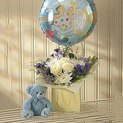 Blue Lullaby Balloon and Teddy Gift Set: Flowers and Teddy Delivery in UK